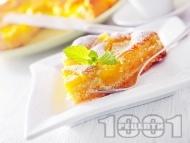 Бърз и лесен маслен кекс / сладкиш с компот от праскови и ванилия